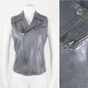 Maje Leather Vest Moto Grey Motorcycle Zipper Snap